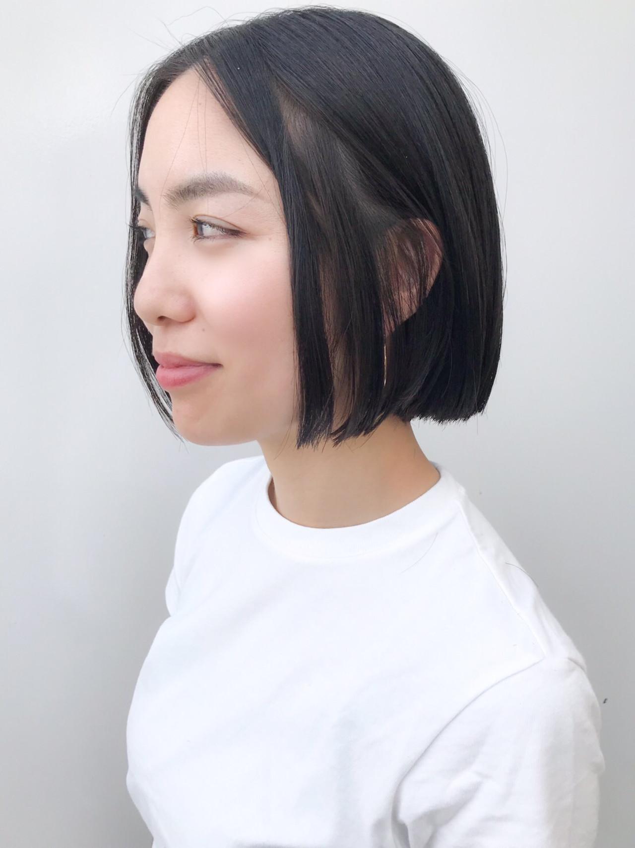 大人かわいい 切りっぱなしボブ デート オフィス ヘアスタイルや髪型の写真・画像 | HIROKI / roijir / roijir