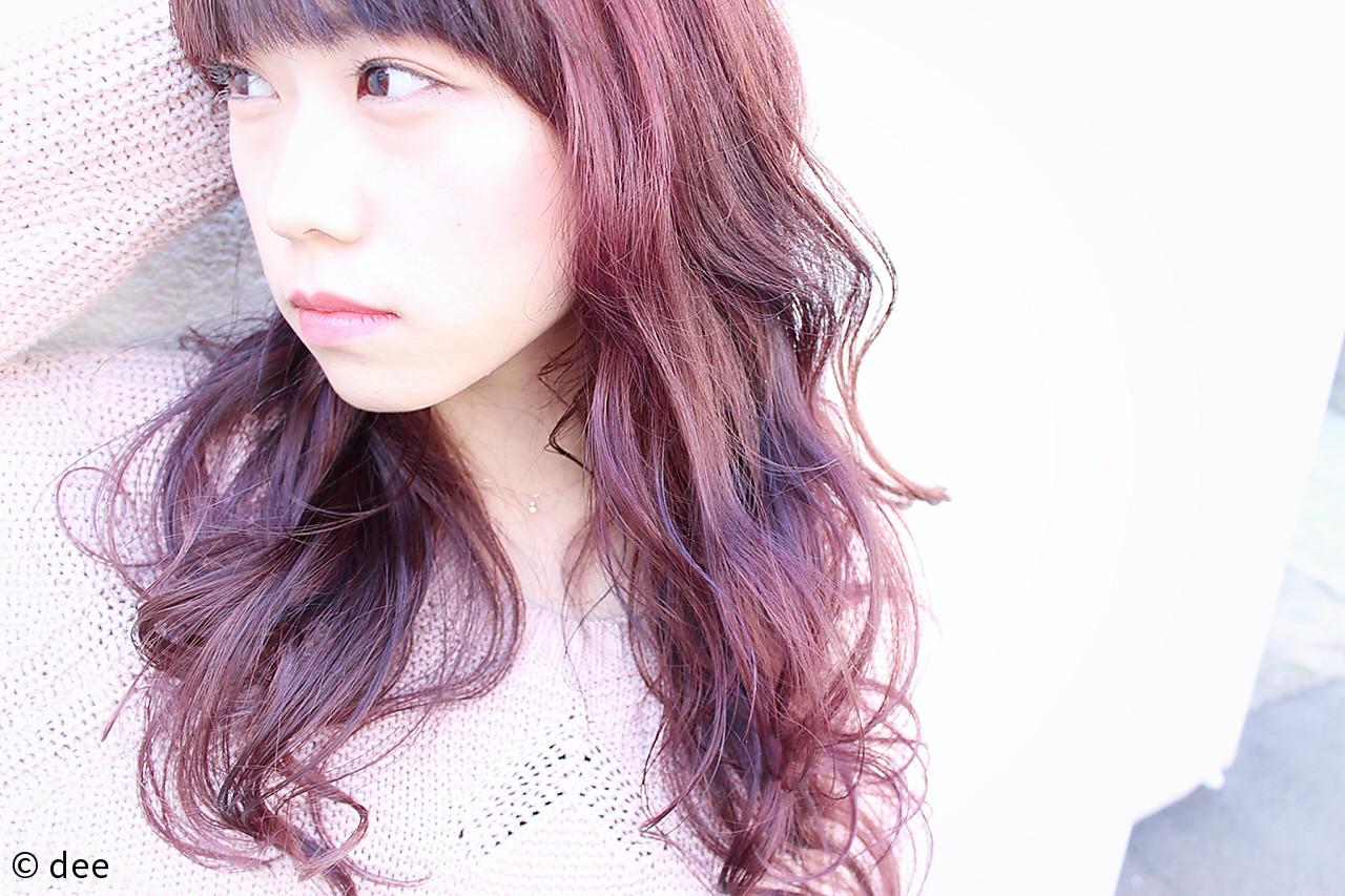 パープル ロング ブリーチ ダブルカラー ヘアスタイルや髪型の写真・画像 | dee / dee