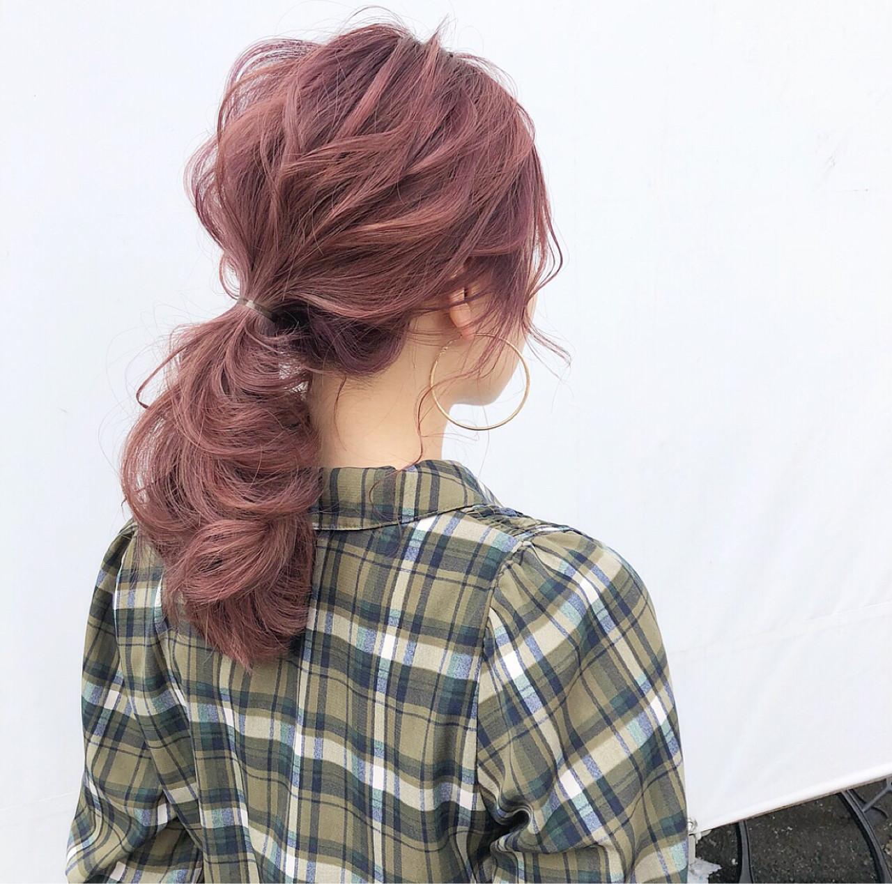 フェミニン セミロング デート ポニーテール ヘアスタイルや髪型の写真・画像