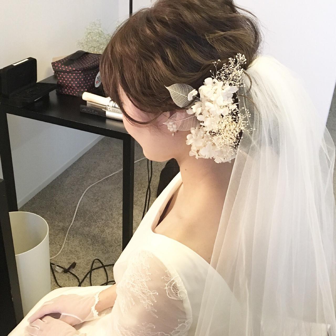 波ウェーブ ヘアアレンジ ナチュラル 結婚式 ヘアスタイルや髪型の写真・画像 | 原田あゆみ / coquille/コキーユ