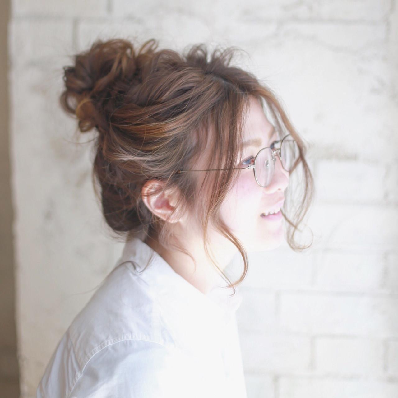 お団子 ショート ゆるふわ ヘアアレンジ ヘアスタイルや髪型の写真・画像