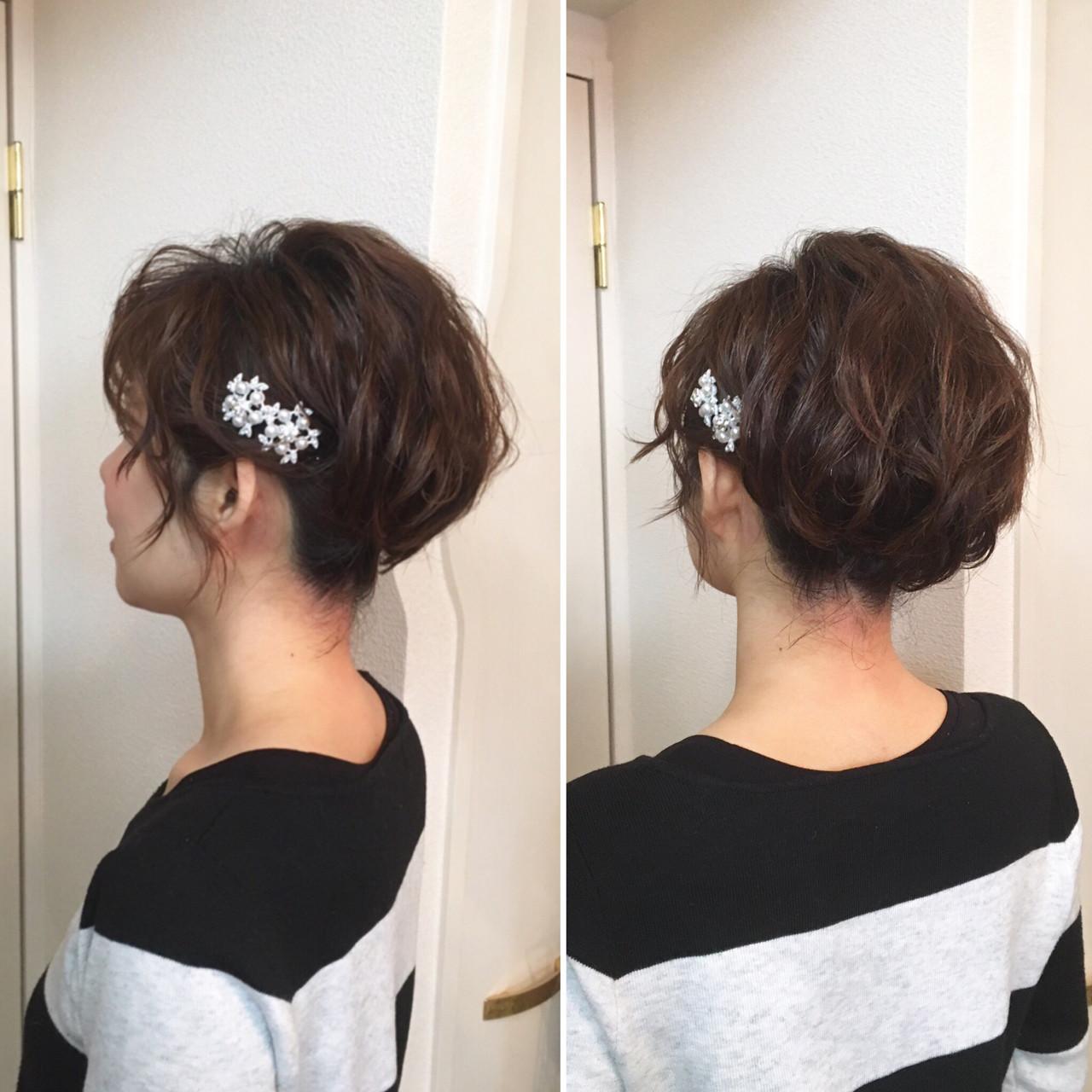 アップスタイル ヘアアレンジ ショート フェミニン ヘアスタイルや髪型の写真・画像