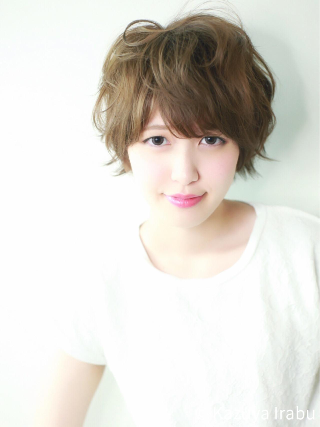 フェミニン パーマ ショート ピュア ヘアスタイルや髪型の写真・画像 | Kazuya Irabu / アービング