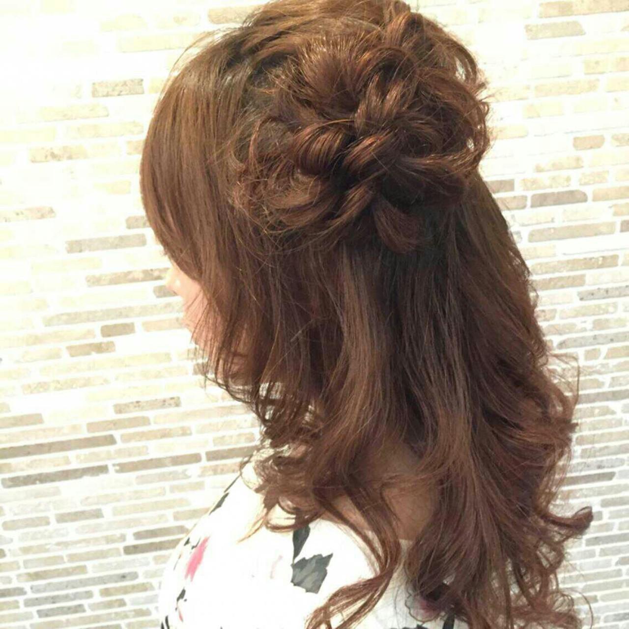 モテ髪 ヘアアレンジ ハーフアップ フェミニン ヘアスタイルや髪型の写真・画像 | やす(やすこ) /