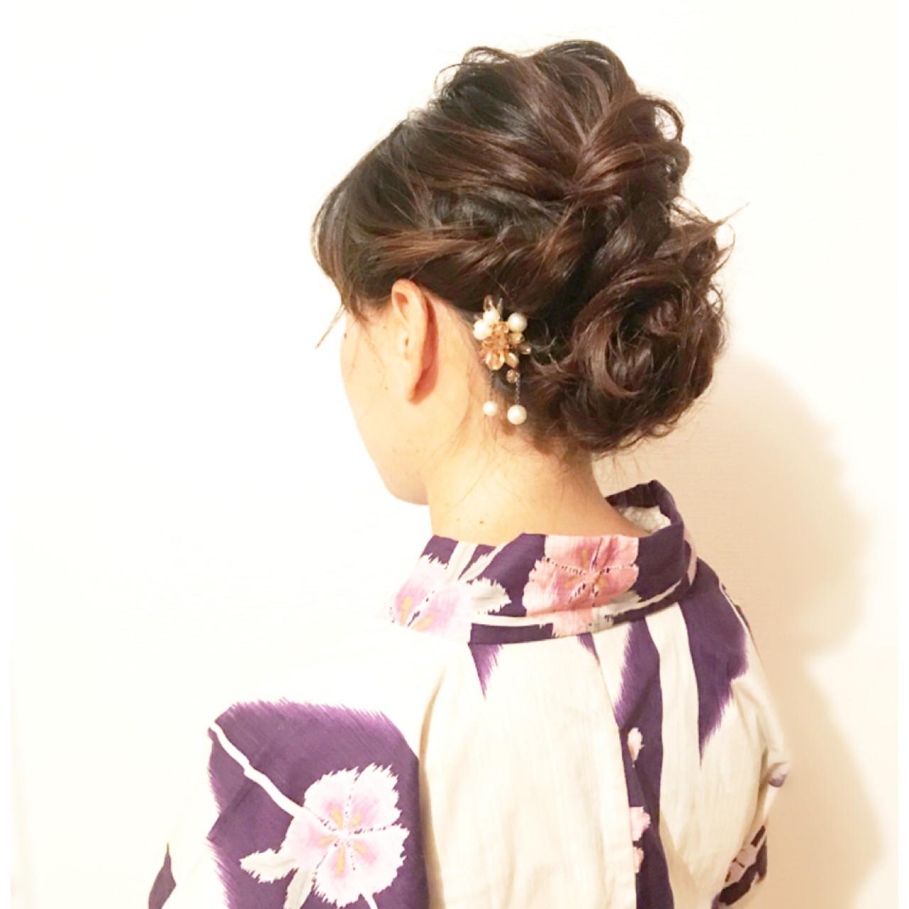 簡単ヘアアレンジ 花火大会 お祭り エレガント ヘアスタイルや髪型の写真・画像