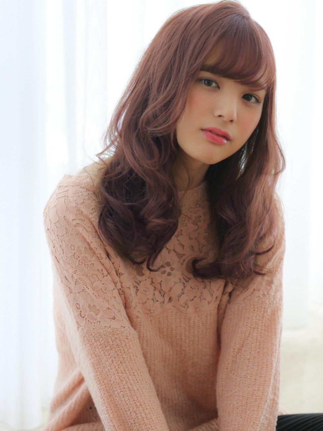 ピンクベージュ ゆるふわ セミロング ピンク ヘアスタイルや髪型の写真・画像