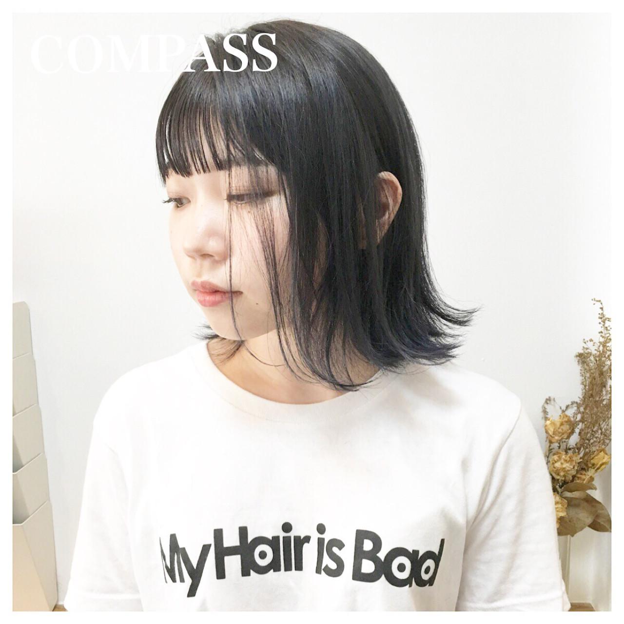 透け感BOB × ネイビーカラーグラデーションカラー☆