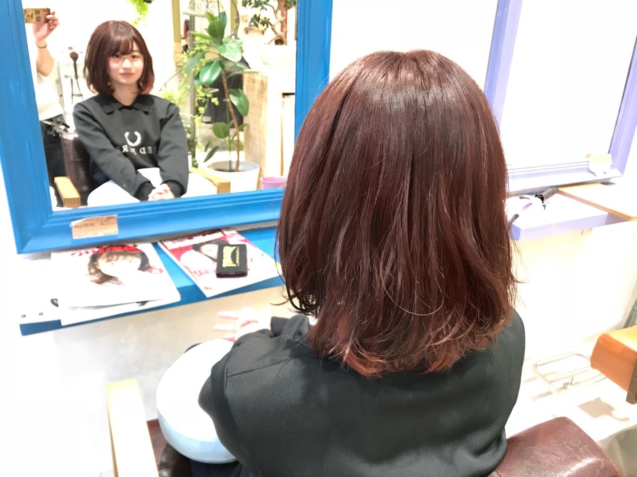 ゆるふわ フェミニン ピンク レッド ヘアスタイルや髪型の写真・画像
