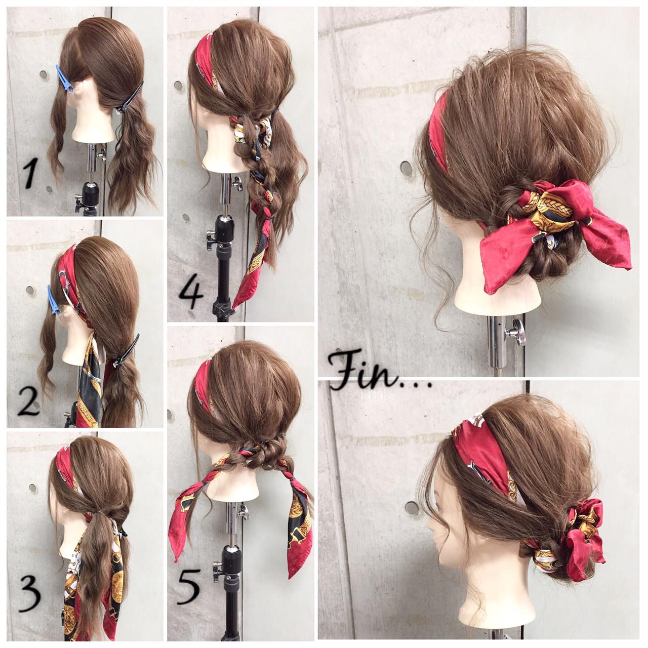 簡単ヘアアレンジ セミロング ヘアアレンジ 三つ編み ヘアスタイルや髪型の写真・画像