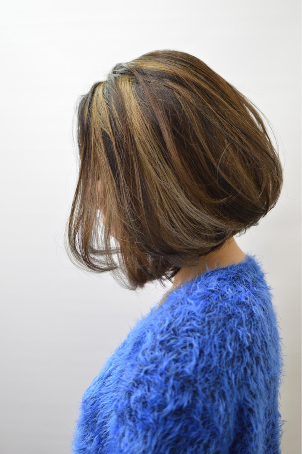 メッシュ ボブ 外国人風 前下がり ヘアスタイルや髪型の写真・画像