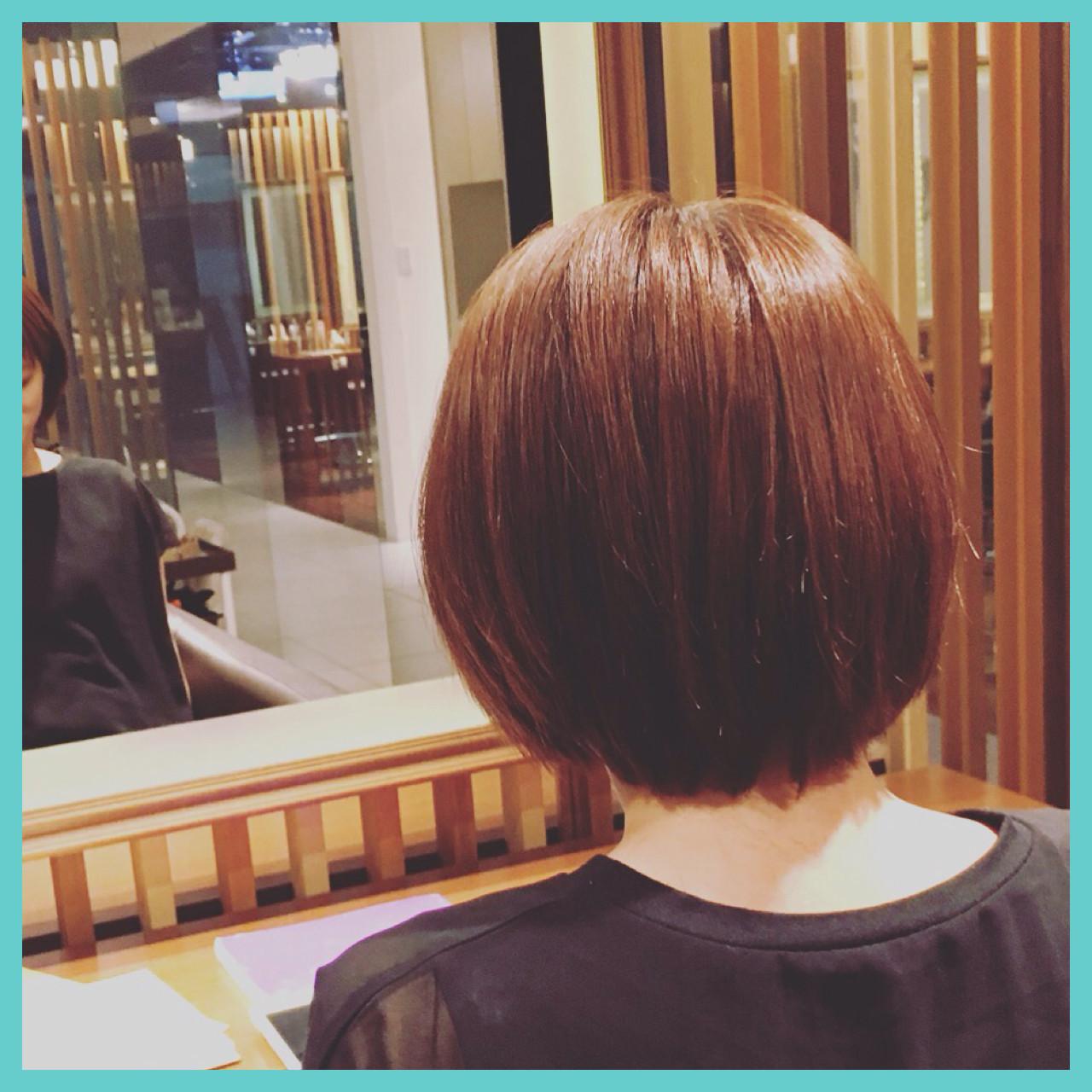 大人かわいい 夏 ナチュラル ショートボブ ヘアスタイルや髪型の写真・画像