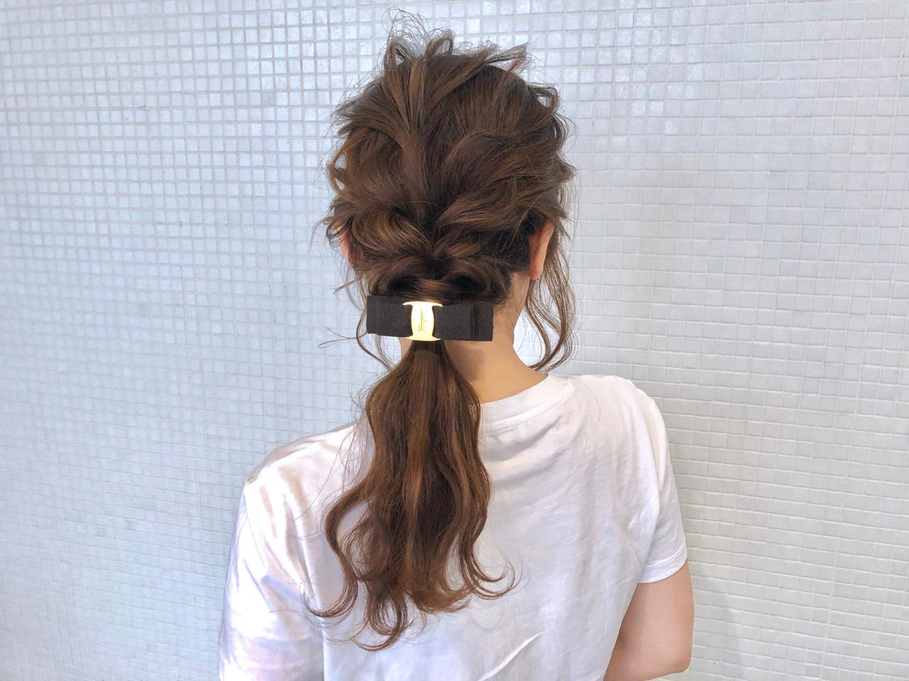 ローポニー お出かけヘア ロング ポニーテール ヘアスタイルや髪型の写真・画像