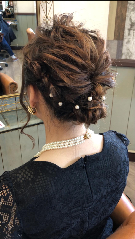 ナチュラル セミロング 結婚式 編み込み ヘアスタイルや髪型の写真・画像