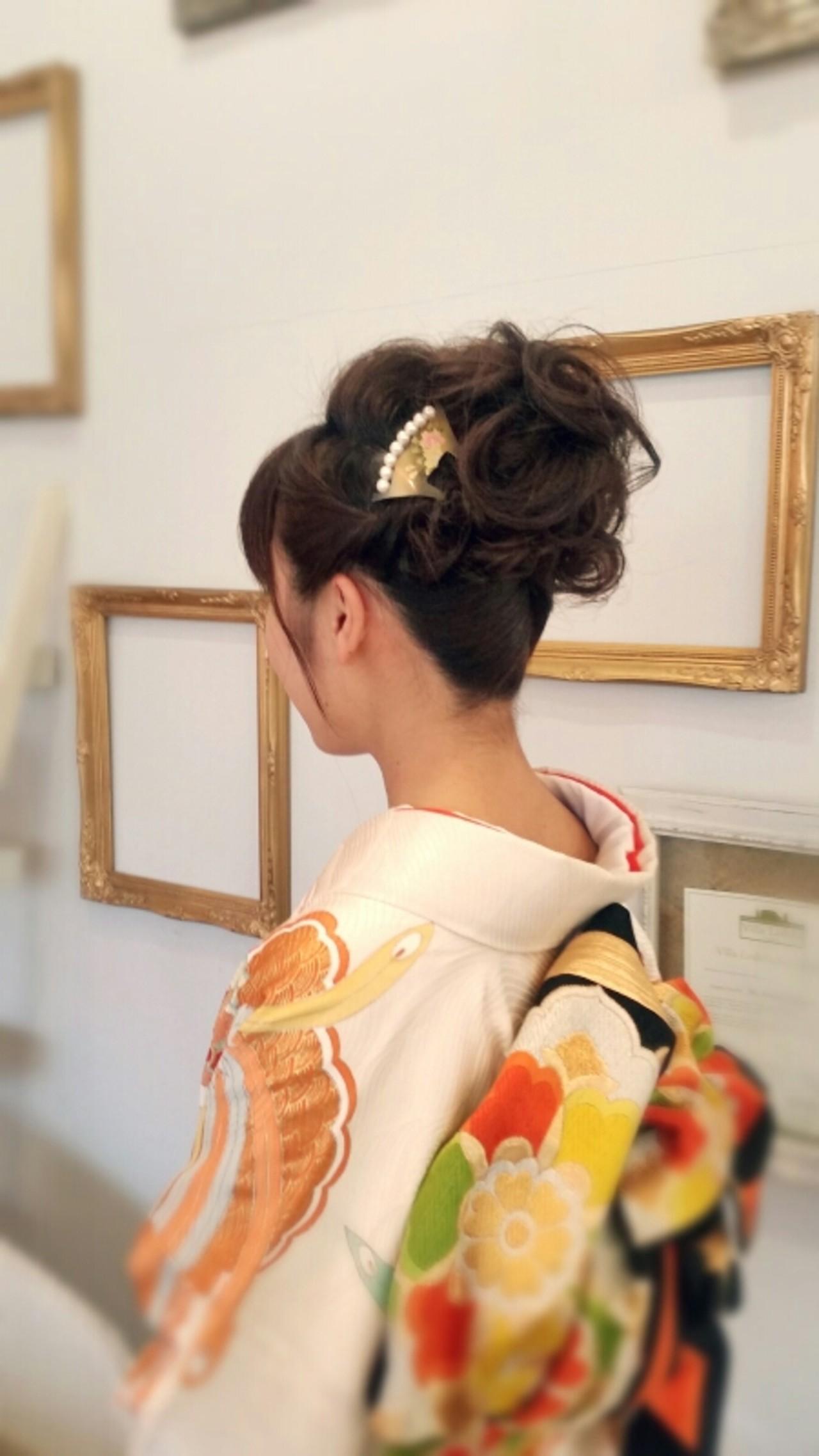 結婚式 着物 ヘアアクセ ヘアアレンジ ヘアスタイルや髪型の写真・画像 | Yuta Kikuchi / eclat hair&beauty