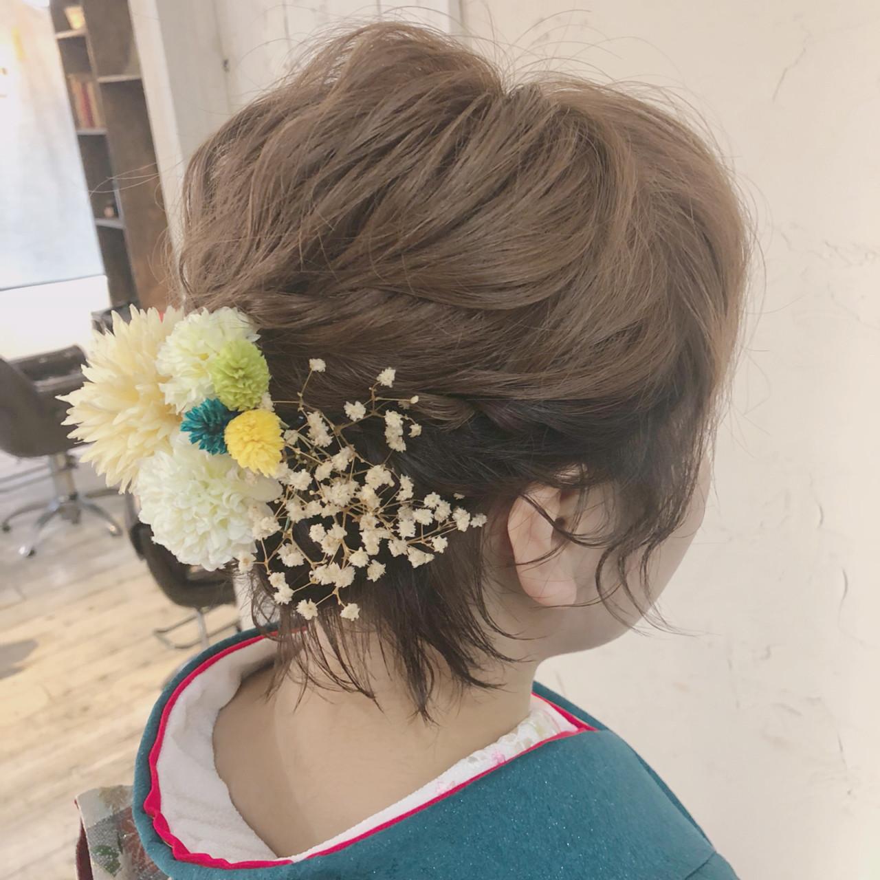 成人式 ショートアレンジ ガーリー ヘアアレンジ ヘアスタイルや髪型の写真・画像