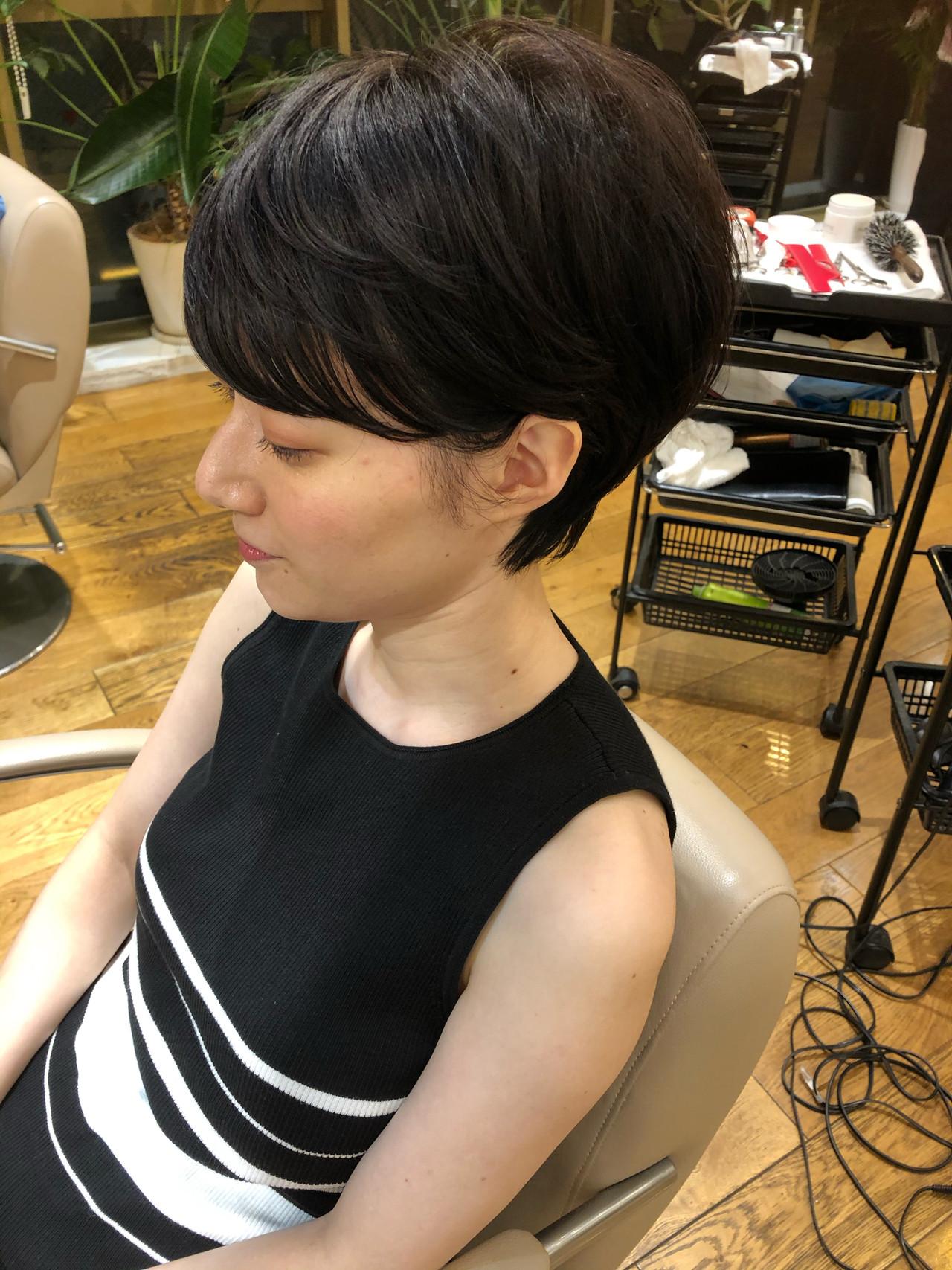 デート ショートヘア ショート ナチュラル ヘアスタイルや髪型の写真・画像