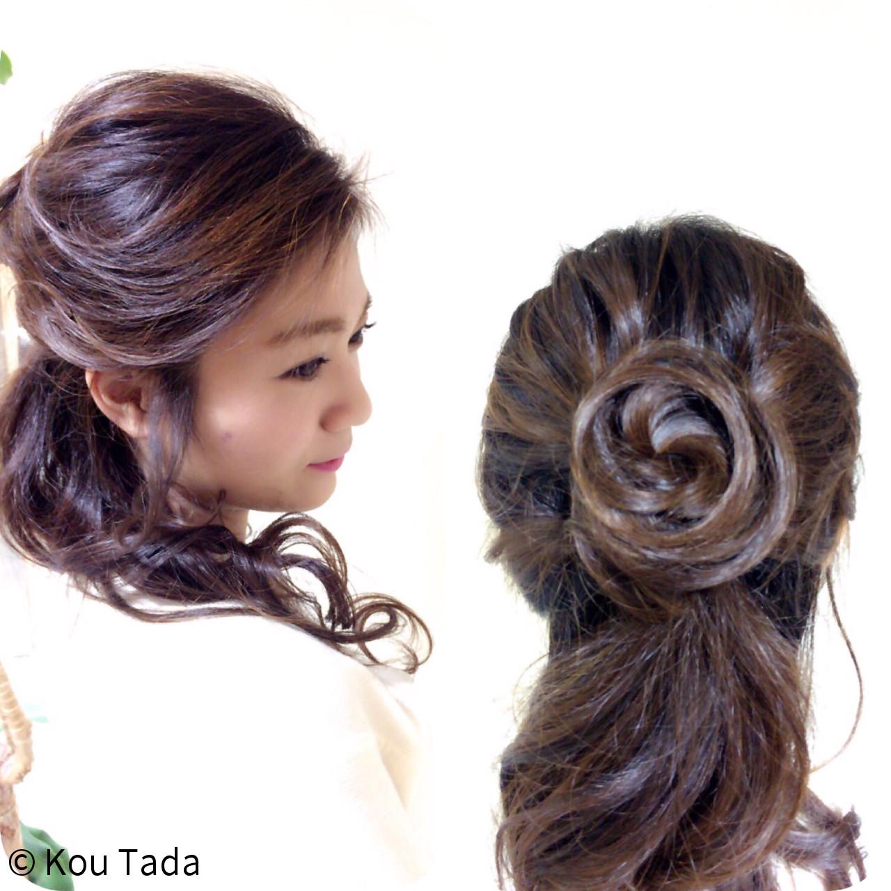 フェミニン パーティ 結婚式 ヘアアレンジ ヘアスタイルや髪型の写真・画像