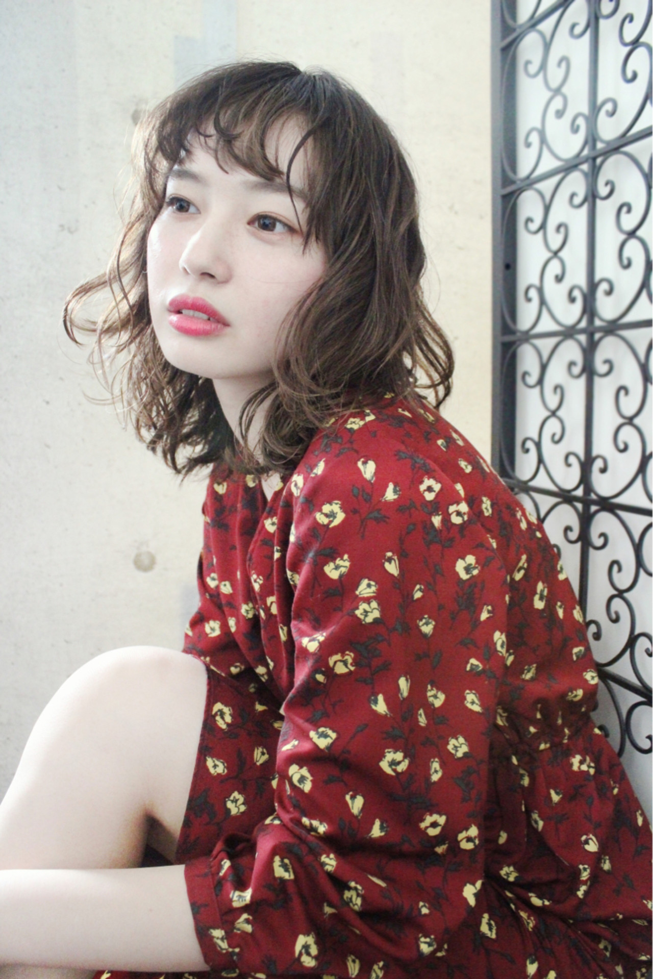 冬 外国人風 パーマ ミディアム ヘアスタイルや髪型の写真・画像 | 上田智久 / ooit 福岡 天神 / ooit