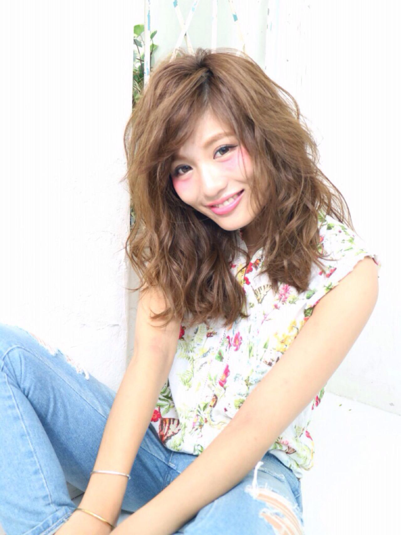 ワイドバング アッシュ ピュア パーマ ヘアスタイルや髪型の写真・画像