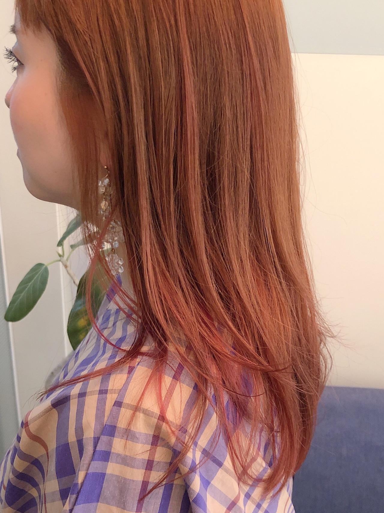 ガーリー オレンジベージュ オレンジ アプリコットオレンジ ヘアスタイルや髪型の写真・画像 | 花井啓好 / mateca hairマテカヘアー