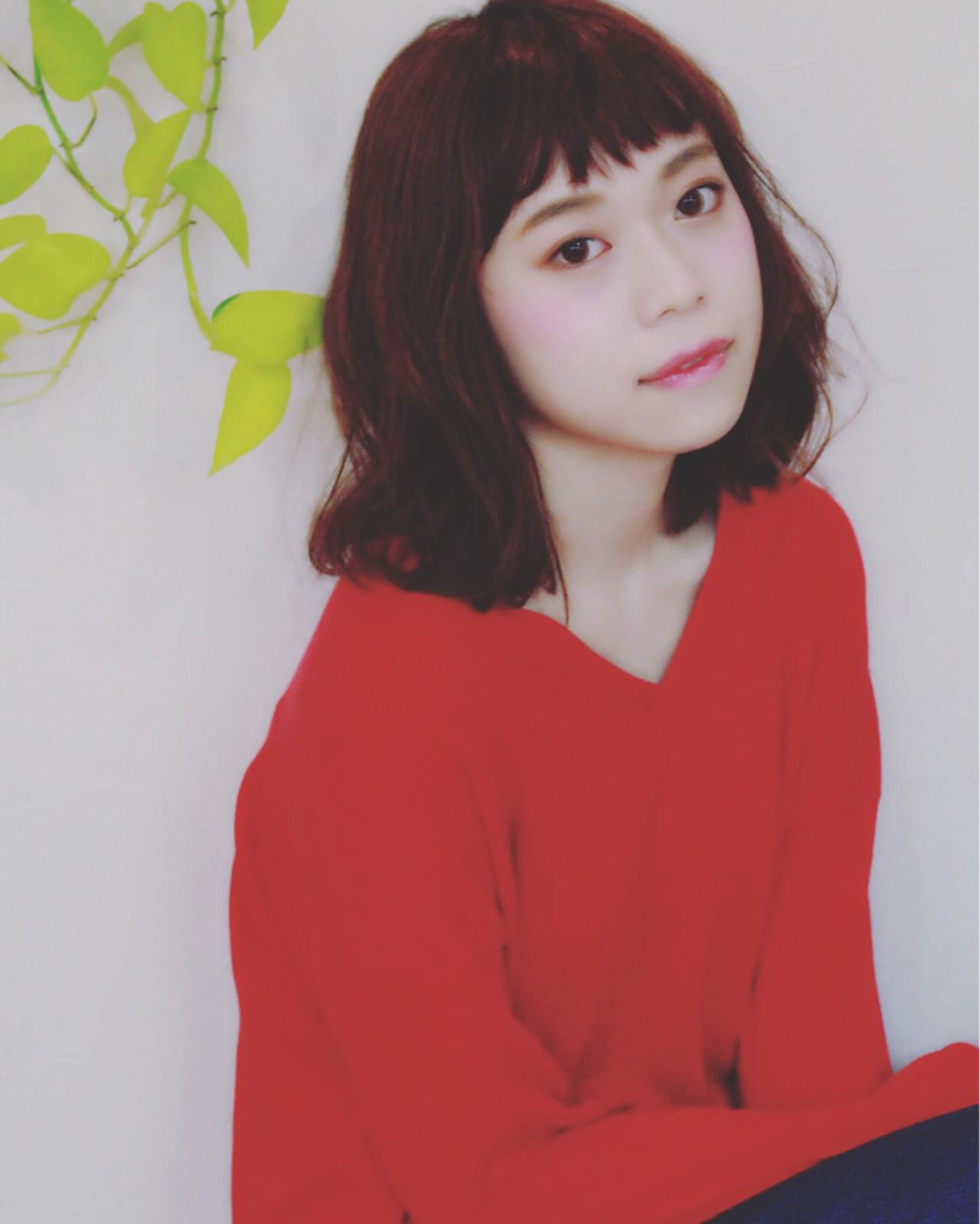 ゆるふわ 前髪あり フェミニン ミディアム ヘアスタイルや髪型の写真・画像   Mayumi Masumitsu / Arrange