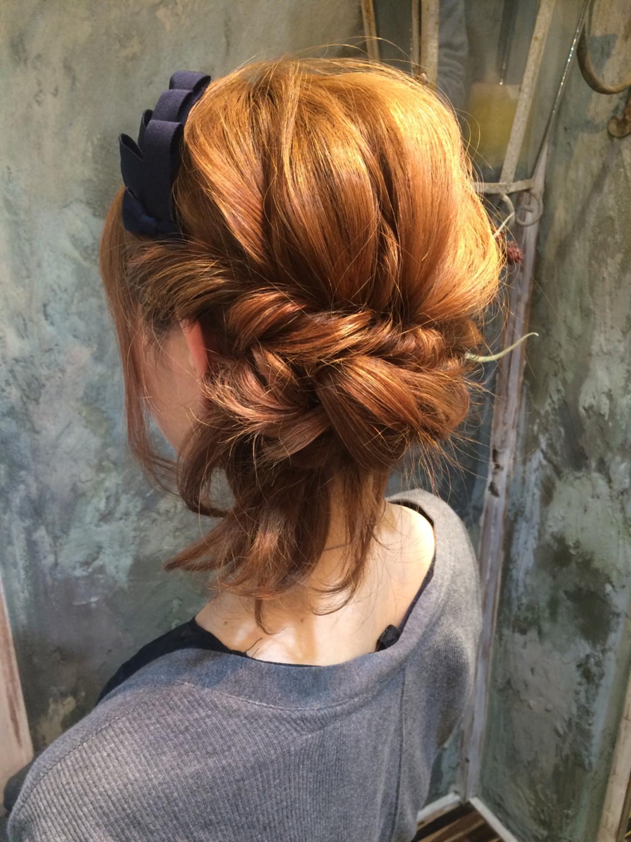 簡単ヘアアレンジ 大人かわいい パーマ ショート ヘアスタイルや髪型の写真・画像