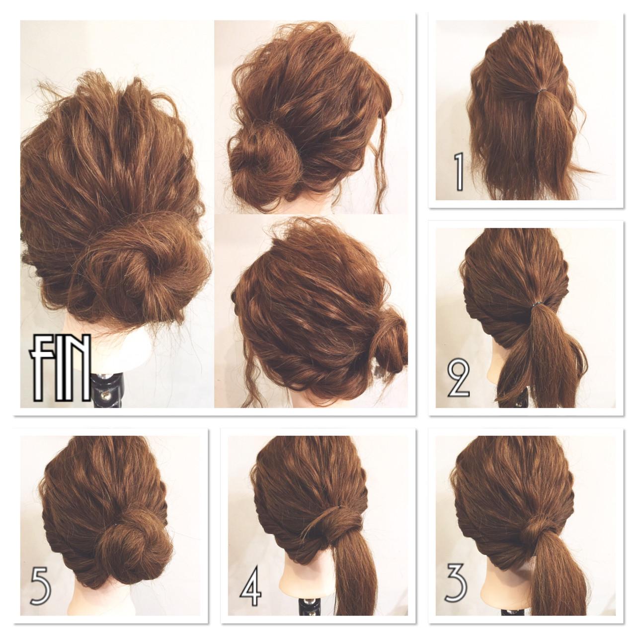 セミロング ゆるふわ 簡単ヘアアレンジ ショート ヘアスタイルや髪型の写真・画像