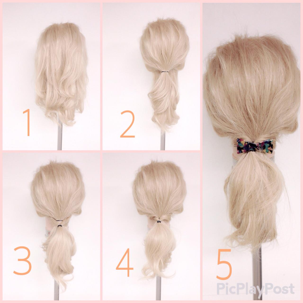 ショート 簡単ヘアアレンジ ゆるふわ ローポニーテール ヘアスタイルや髪型の写真・画像
