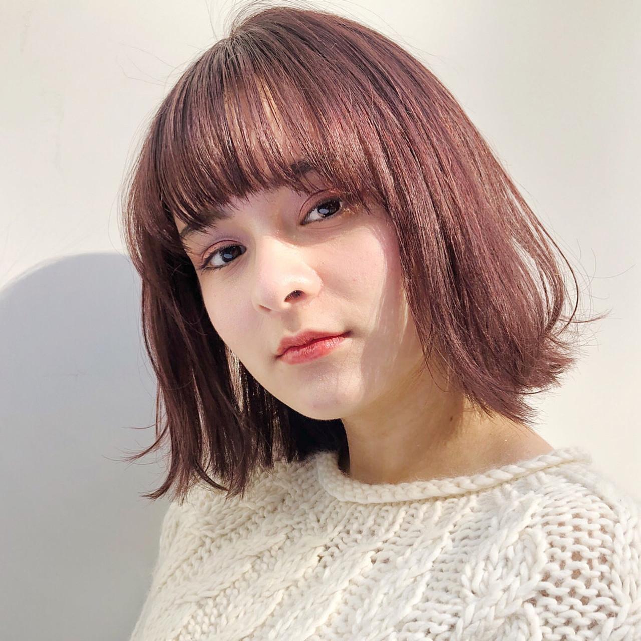 透明感カラー デート ナチュラル ボブ ヘアスタイルや髪型の写真・画像 | eri / kikkake@depth