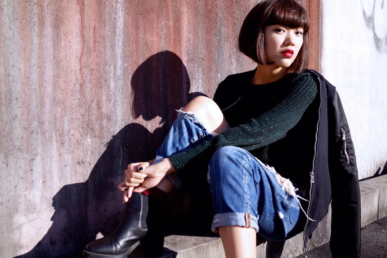 黒髪 インナーカラー ボブ ワンレングス ヘアスタイルや髪型の写真・画像 | Umi /