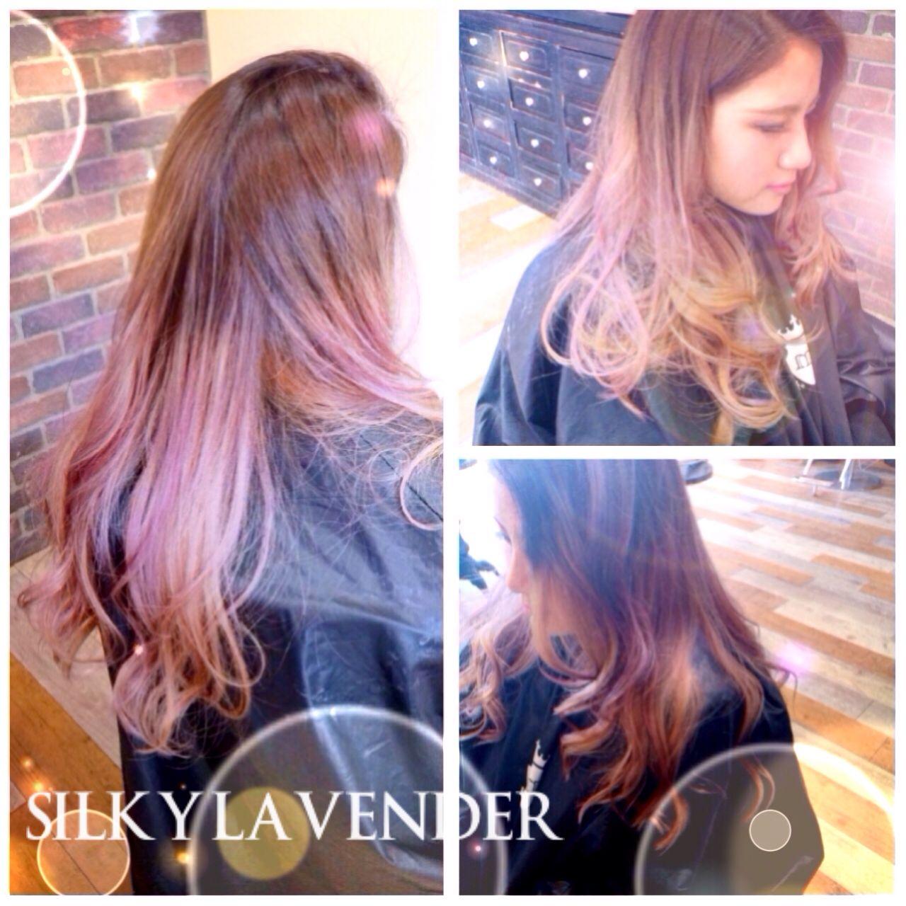 外国人風カラー ラベンダーピンク ラベンダーアッシュ グラデーションカラー ヘアスタイルや髪型の写真・画像