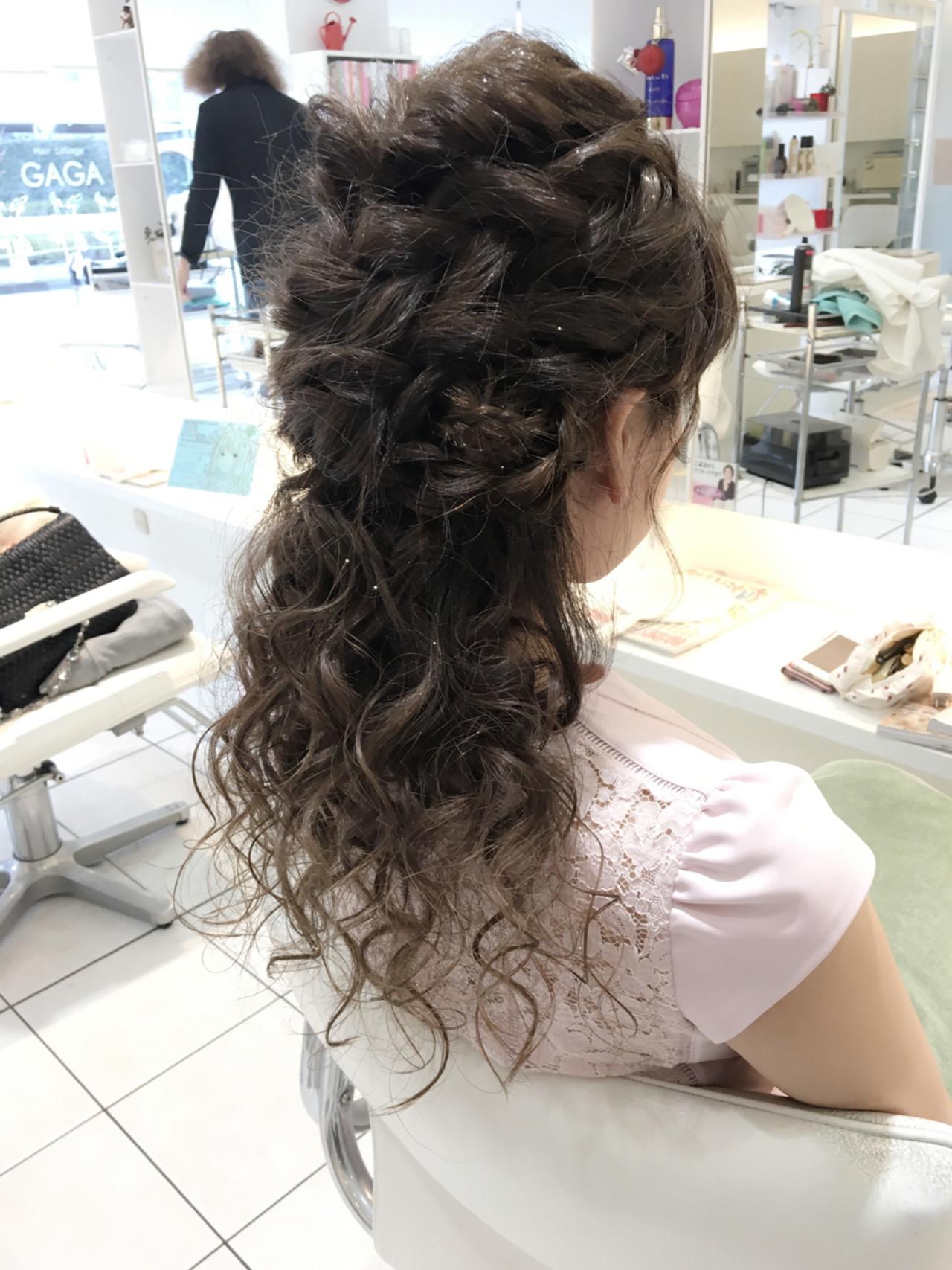 くるりんぱ 編み込み ハーフアップ ロング ヘアスタイルや髪型の写真・画像