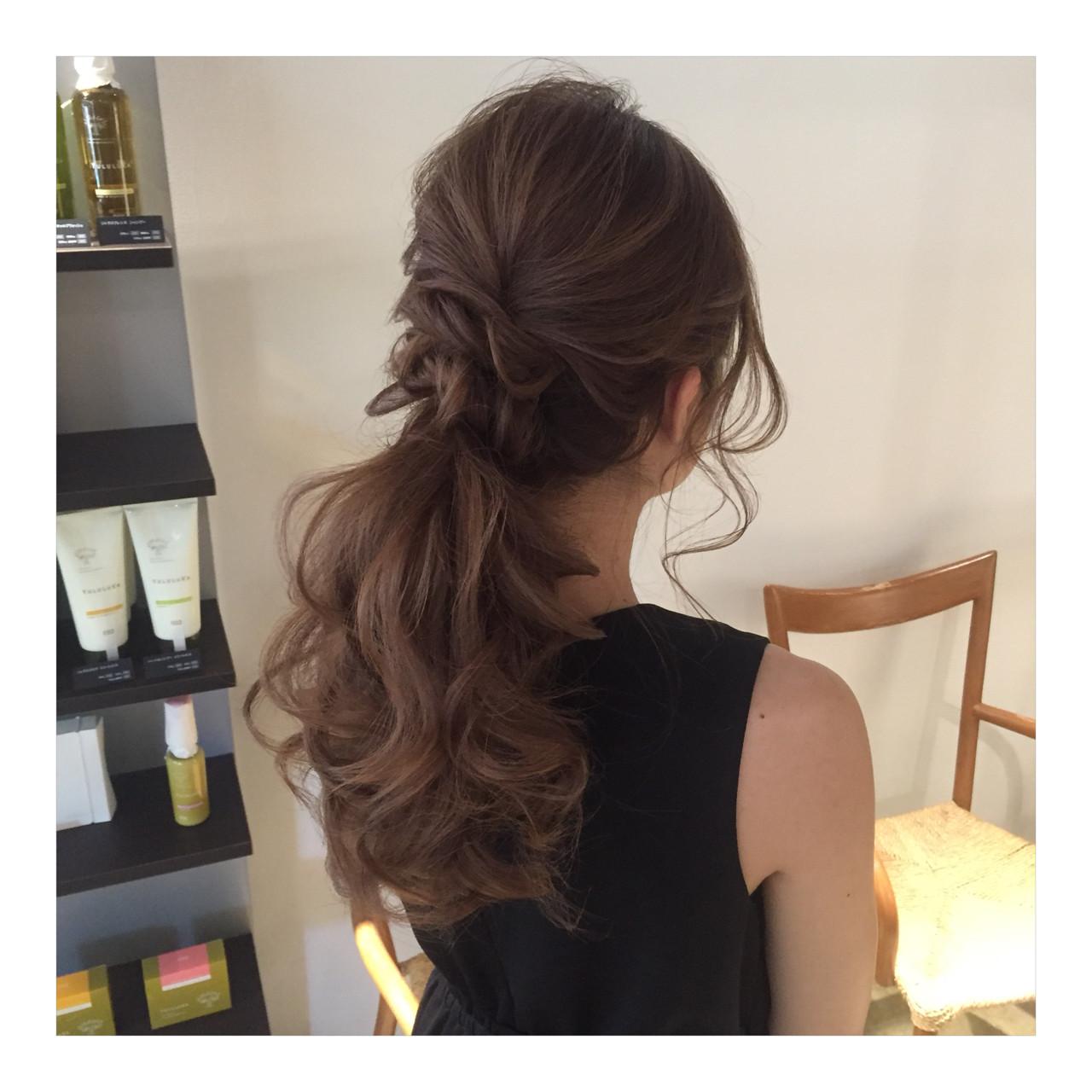 ポニーテール 結婚式 ロング ヘアアレンジ ヘアスタイルや髪型の写真・画像