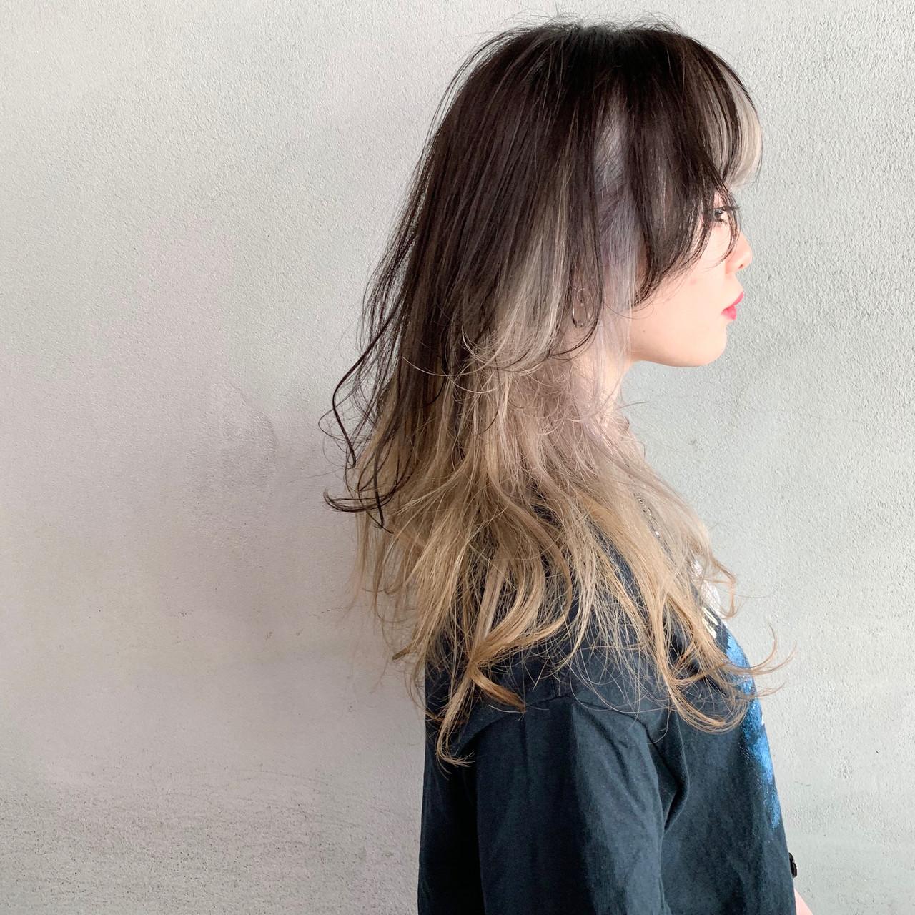 セミロング ウルフレイヤー モード ウルフ女子 ヘアスタイルや髪型の写真・画像