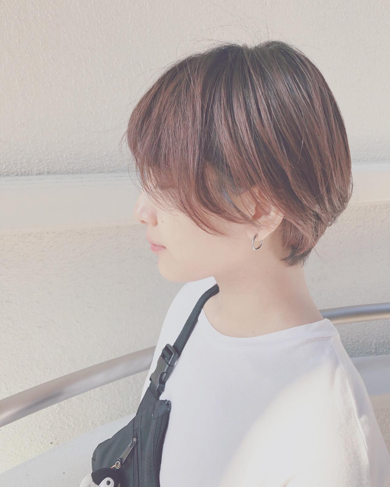 デート ハンサムショート ショート 透明感 ヘアスタイルや髪型の写真・画像