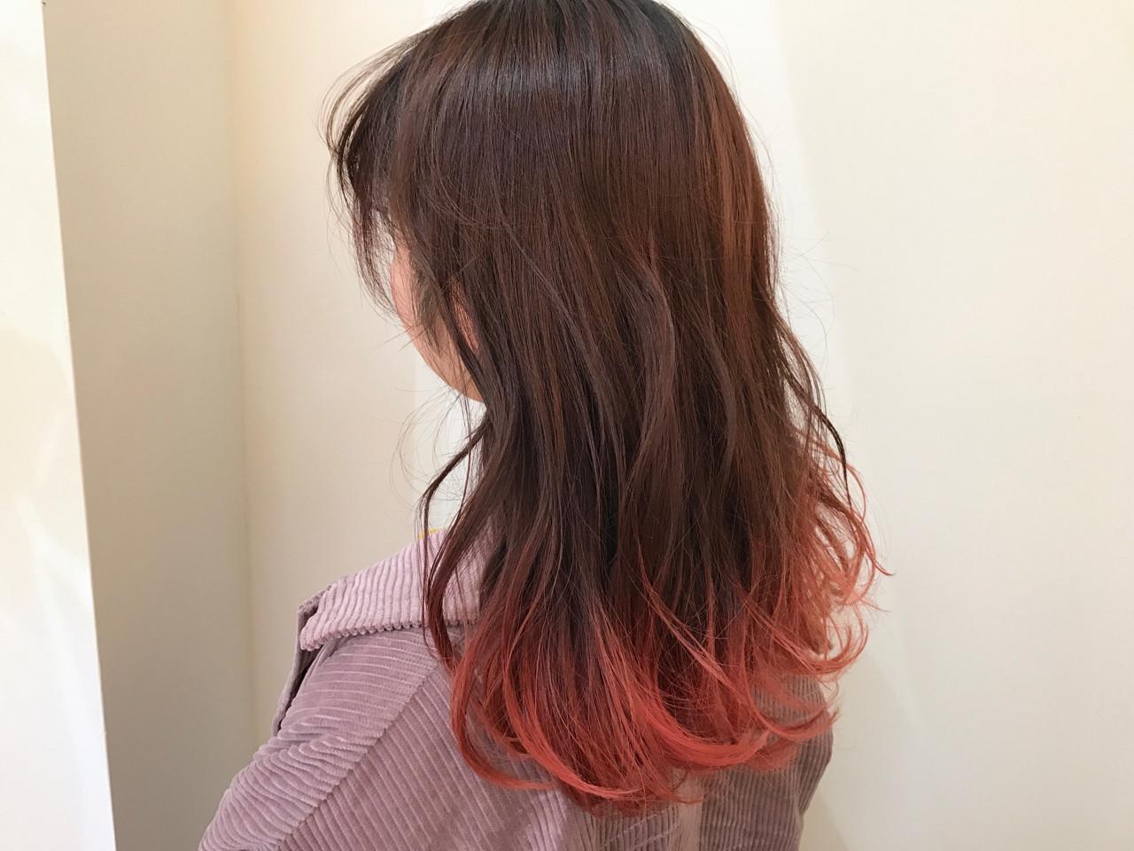 フェミニン ダブルカラー ピンク ハイトーン ヘアスタイルや髪型の写真・画像