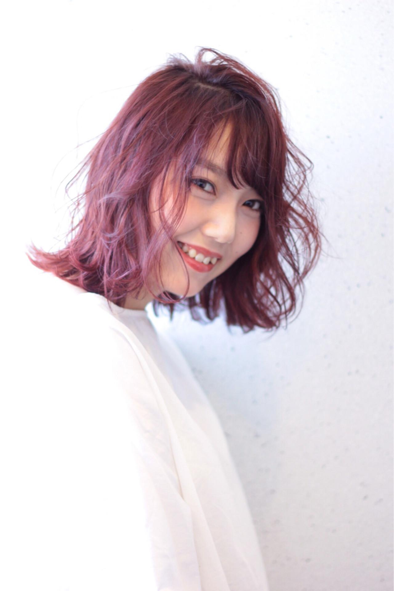ベージュ ラベンダーピンク ラベンダー ボブ ヘアスタイルや髪型の写真・画像
