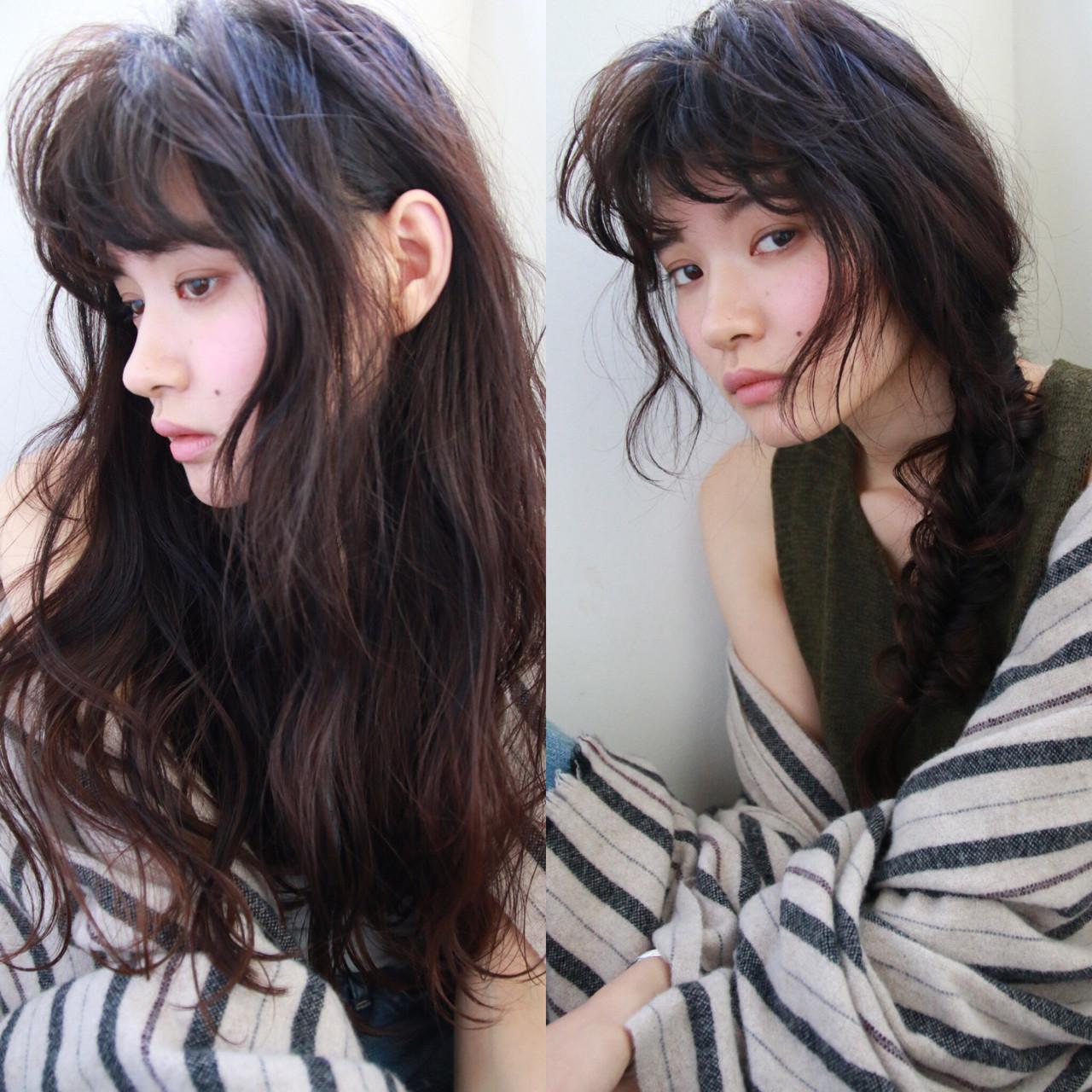 暗髪 ロング パーマ 外国人風 ヘアスタイルや髪型の写真・画像 | 津崎 伸二 / nanuk / nanuk渋谷店(ナヌーク)
