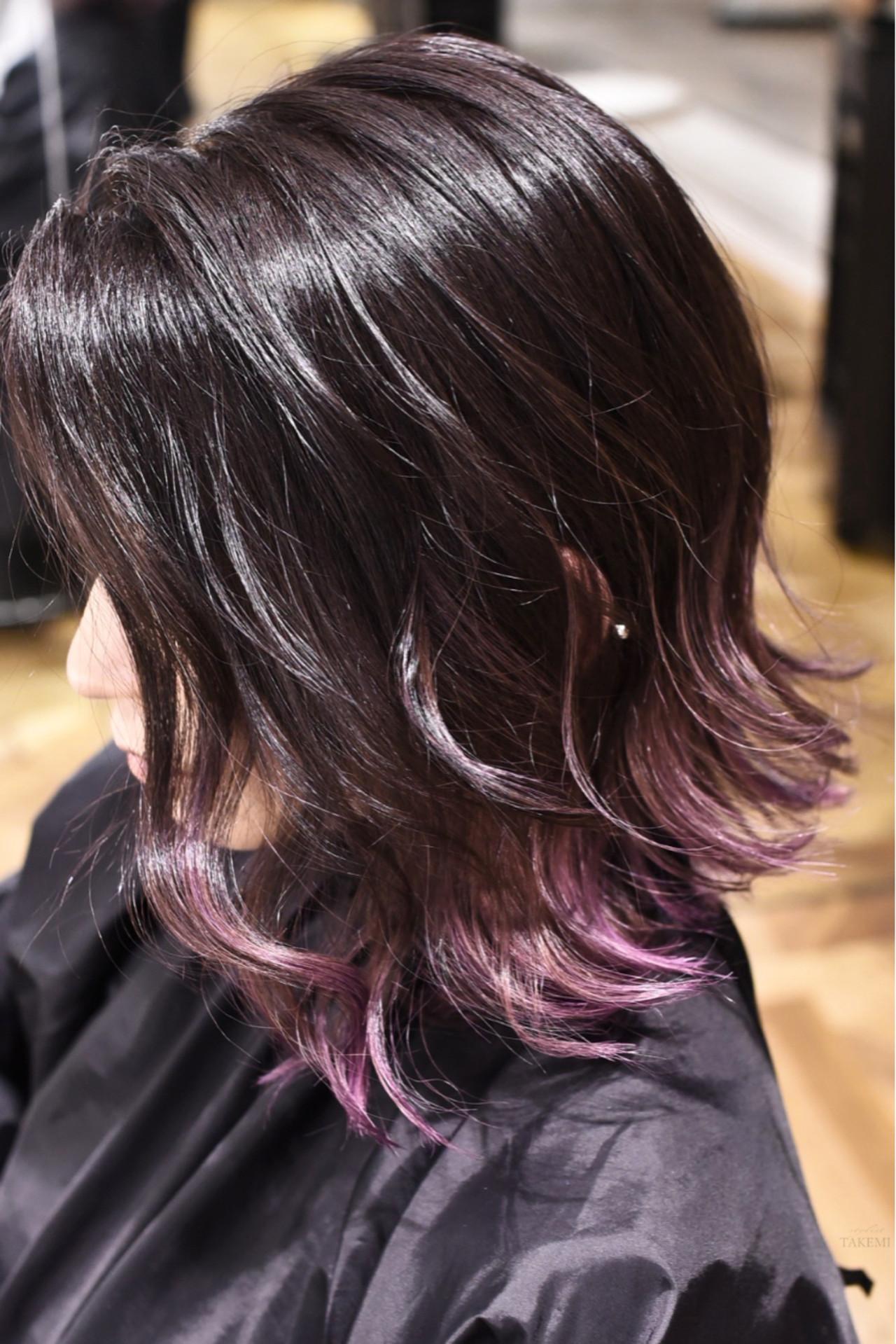 ガーリー バレイヤージュ グラデーションカラー ボブ ヘアスタイルや髪型の写真・画像   TAKEMI / BEBE 表参道