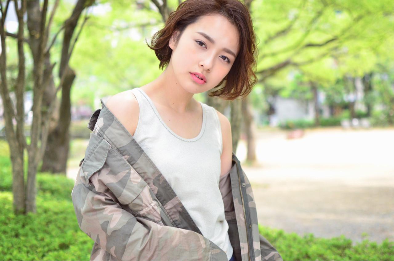 女子会 アウトドア リラックス ボブ ヘアスタイルや髪型の写真・画像 | YUJI / LIICHI / LIICHI (リイチ)