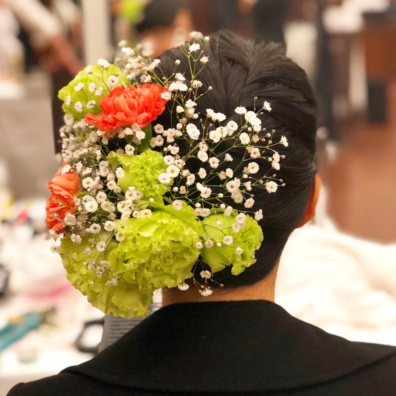 成人式 黒髪 フェミニン ヘアアレンジ ヘアスタイルや髪型の写真・画像