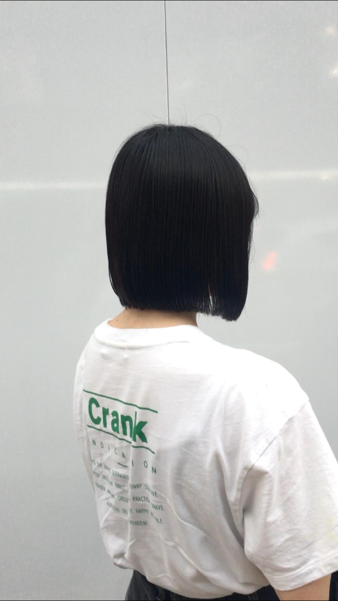 ストレート 切りっぱなし ミニボブ モード ヘアスタイルや髪型の写真・画像   オノミカ / g.hair design