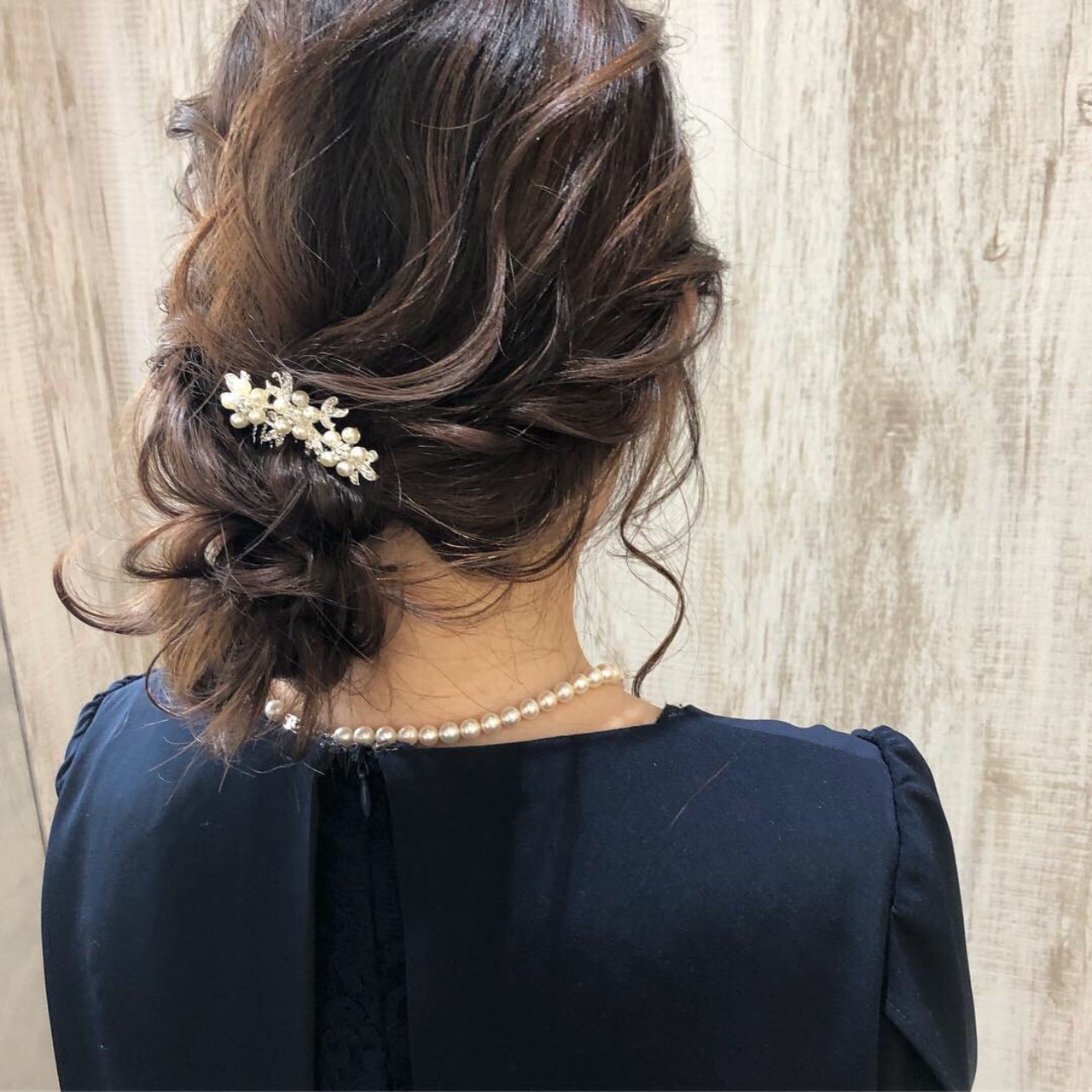 結婚式ヘアアレンジ ミディアム 大人かわいい 結婚式 ヘアスタイルや髪型の写真・画像   松谷 聖史 /  estrela