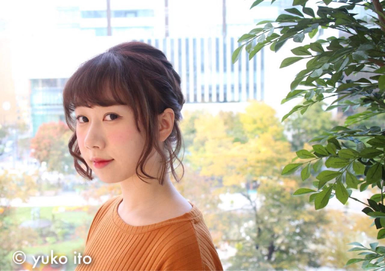 ラフ ヘアアレンジ ゆるふわ フェミニン ヘアスタイルや髪型の写真・画像