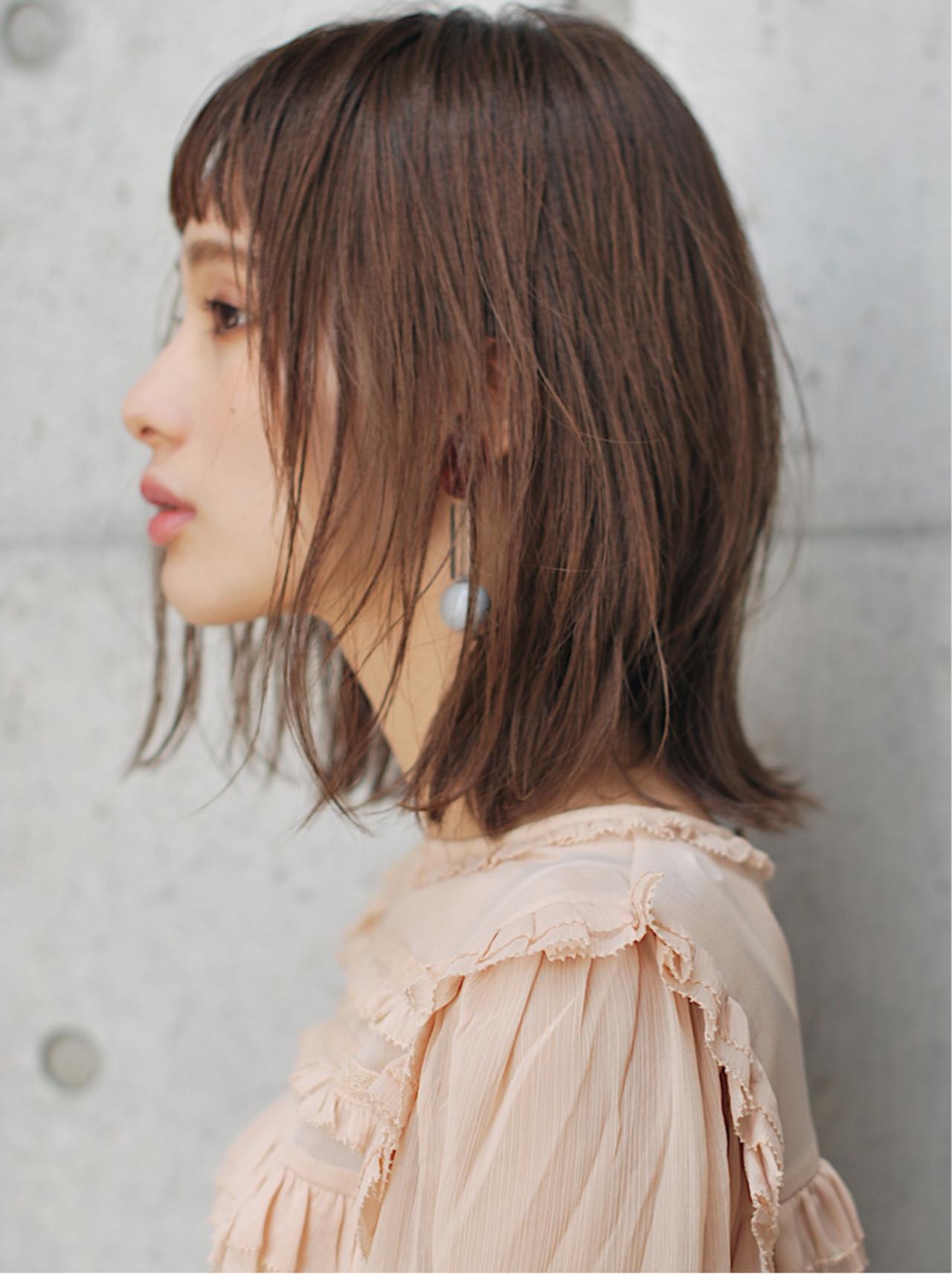 ミルクティーベージュ 透明感 ロブ ナチュラル ヘアスタイルや髪型の写真・画像