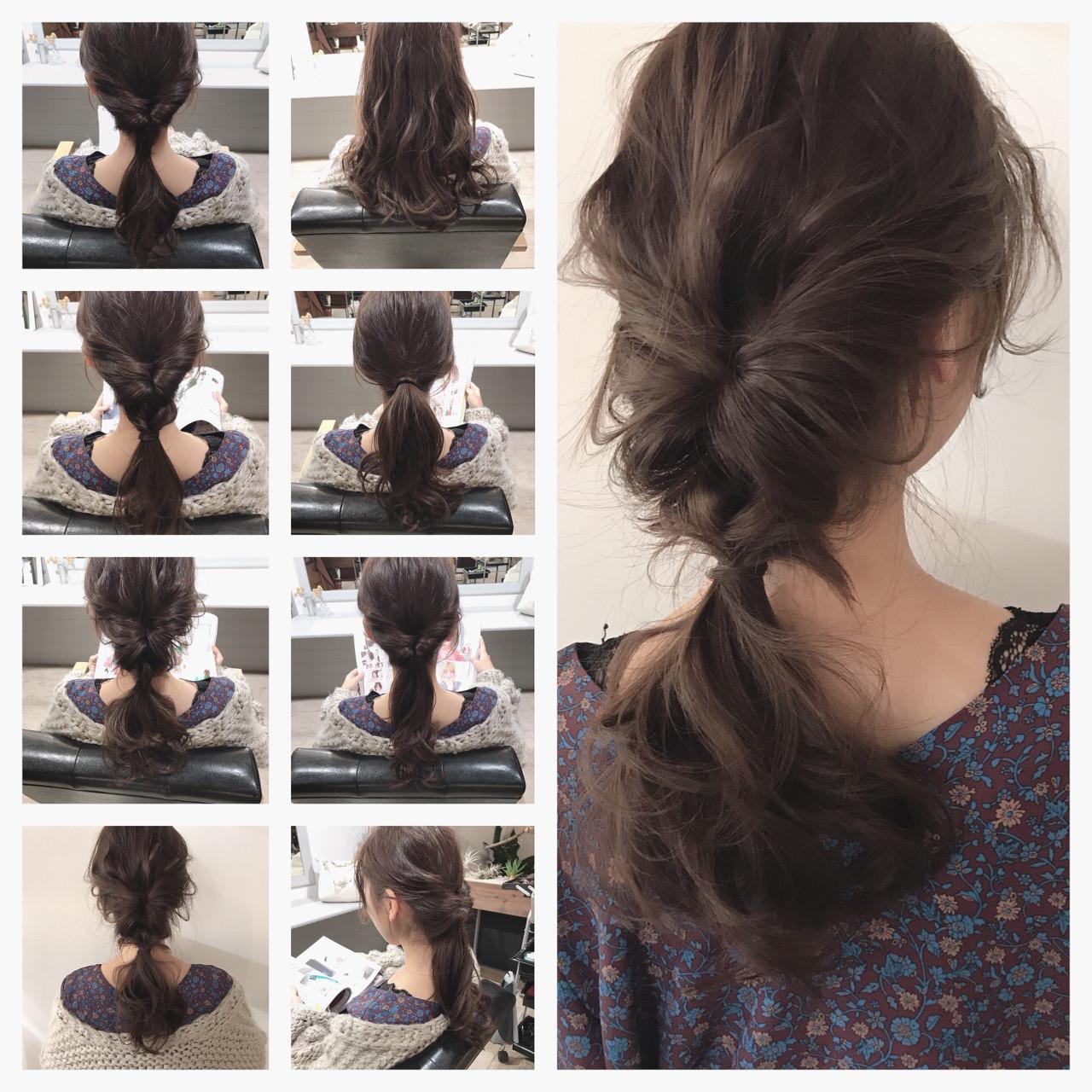 冬 簡単ヘアアレンジ ナチュラル デート ヘアスタイルや髪型の写真・画像