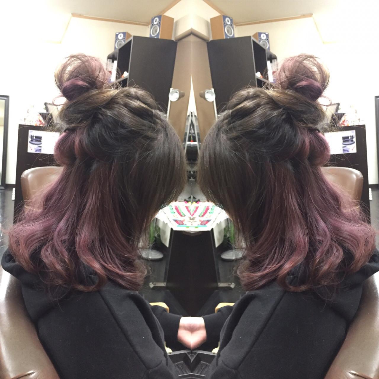 ヘアアレンジ セミロング ハーフアップ 外国人風 ヘアスタイルや髪型の写真・画像 | 佐藤 允美 / Hair Space  ACT  LOCALLY(アクトローカリー)