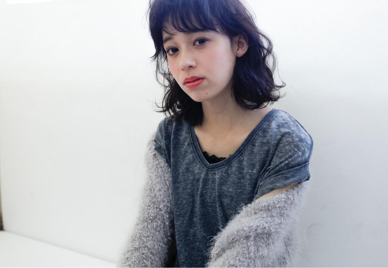 黒髪 ミディアム 大人女子 パーマ ヘアスタイルや髪型の写真・画像 | 宮本英文 / grace by afloat
