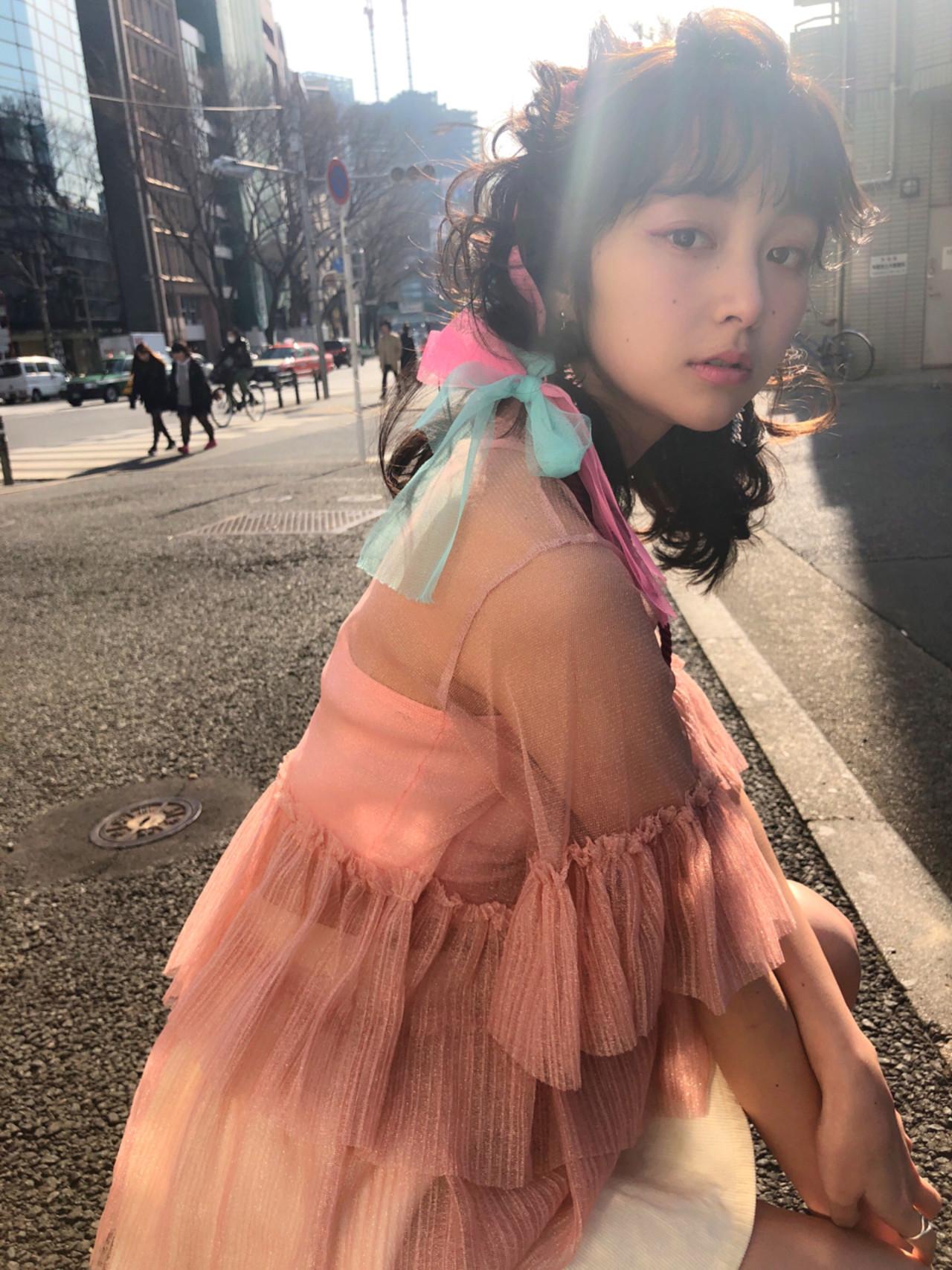 謝恩会 ガーリー 簡単ヘアアレンジ ヘアアレンジ ヘアスタイルや髪型の写真・画像   MOTAI / Wille / Wille