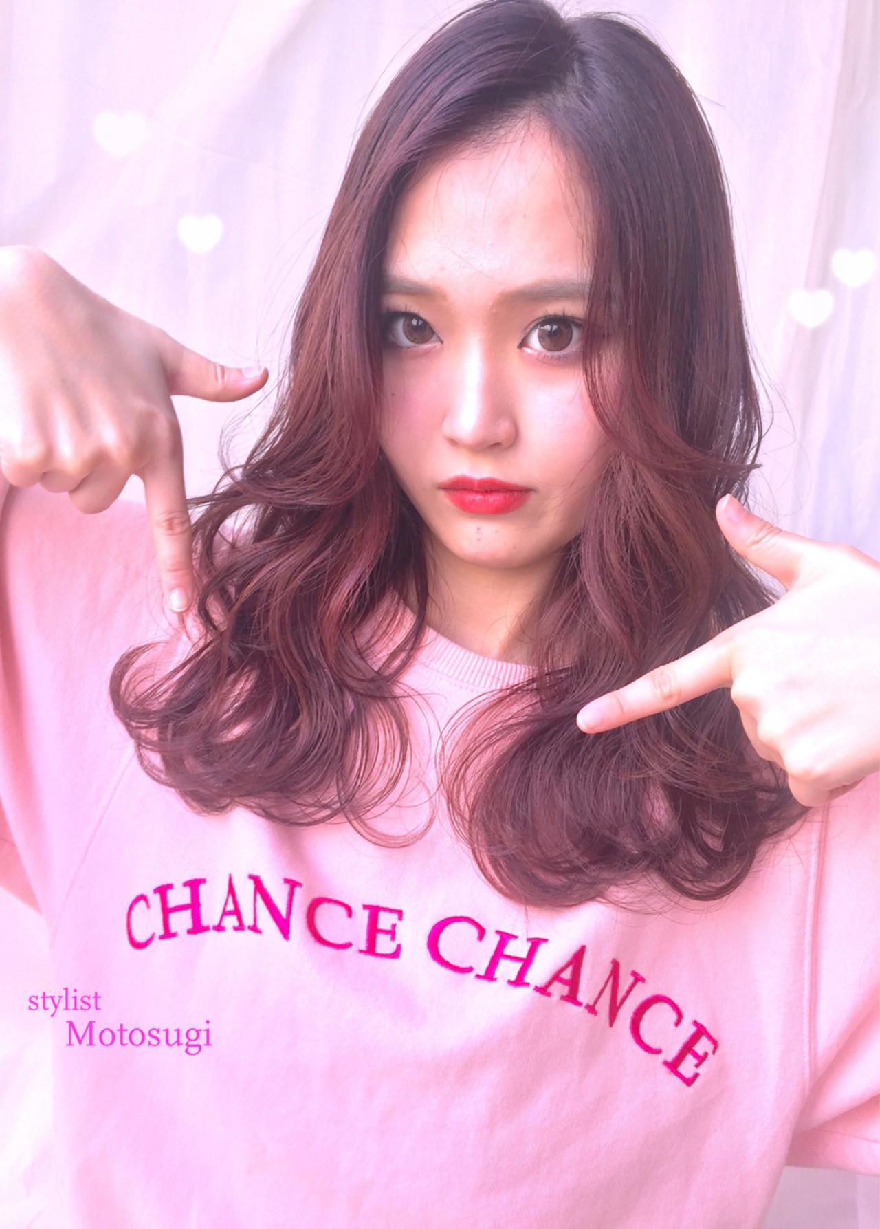 愛され セミロング モテ髪 ピンク ヘアスタイルや髪型の写真・画像